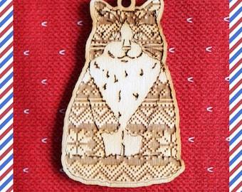 Ragdoll Wood engraved katten silhouette ornament