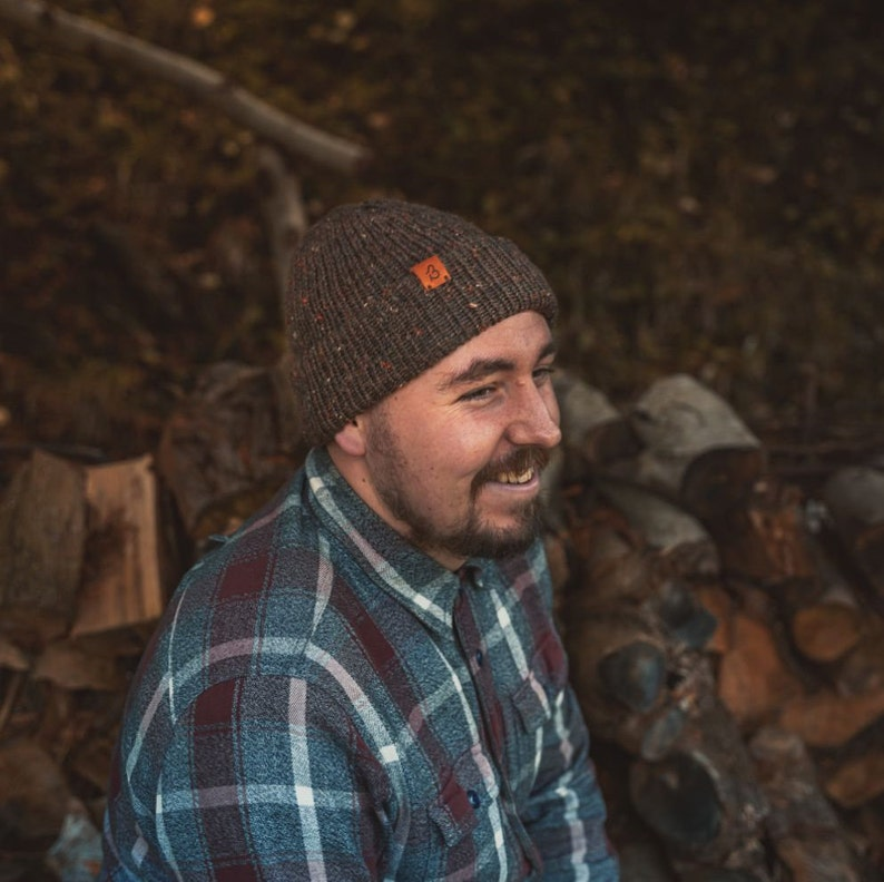Super warm Chestnut Brown beanie that/'s hand made in the UK Tweed Wooly Beanie Hat Unisex winter beanie Limited edition wooly hat.
