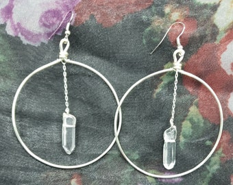 Quartz point silver circle earrings