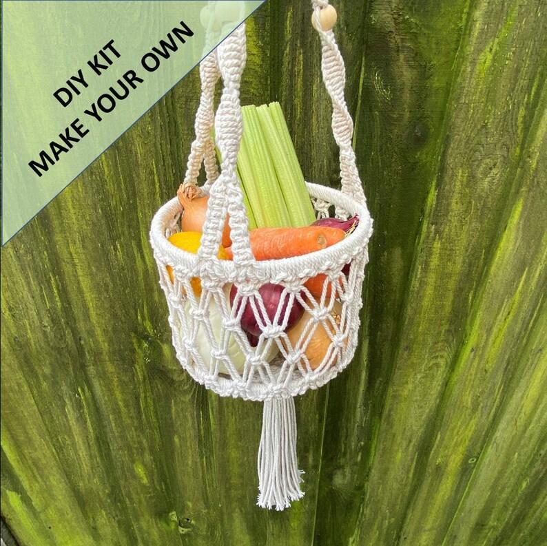 Everything you need to create your own Hanging Basket. DIY Macrame Hanging Vegetable Basket Kit