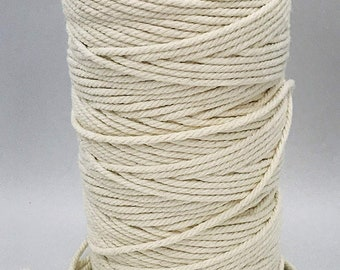 Natural Cotton Cord Rope DIY Macrame Cord Wall Hanging Plant Hanger Craft Making Knitting Rope Home Decoration 13 Colors 3mm*200m//4mm*110m Yellow, 3mm