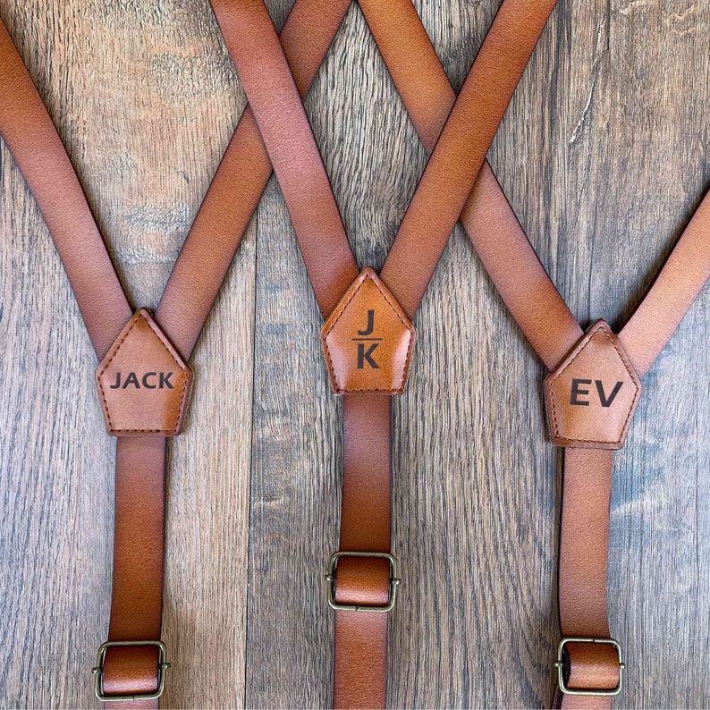Personalized Groomsmen Gif ine Leather Adjustable Suspenders image 0