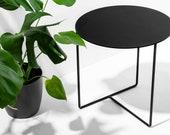 Side Table Solid 01 Black - (50cm x 50cm x 45cm) - Powder Coated Steel