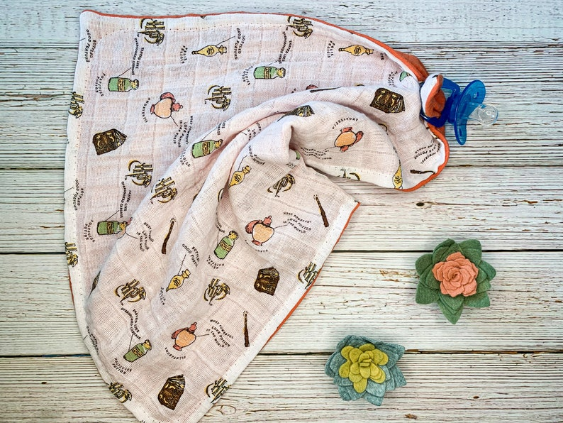 Harry Potter Teething Ring and Snuggle Blanket; Harry Potter Security Blanket; Muslin Blanket; Wooden Teething Toy; Wooden Teether Ring