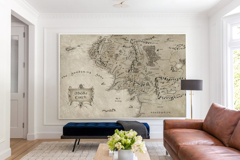 Mezzo Terra Mappa Muro Decor Lord of the Rings Wallpaper image 0