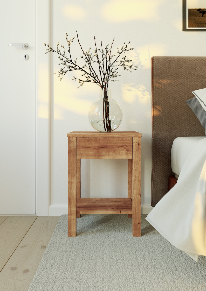 Modern Nightstand Organizer Wooden Bedside Table Farmhouse Etsy