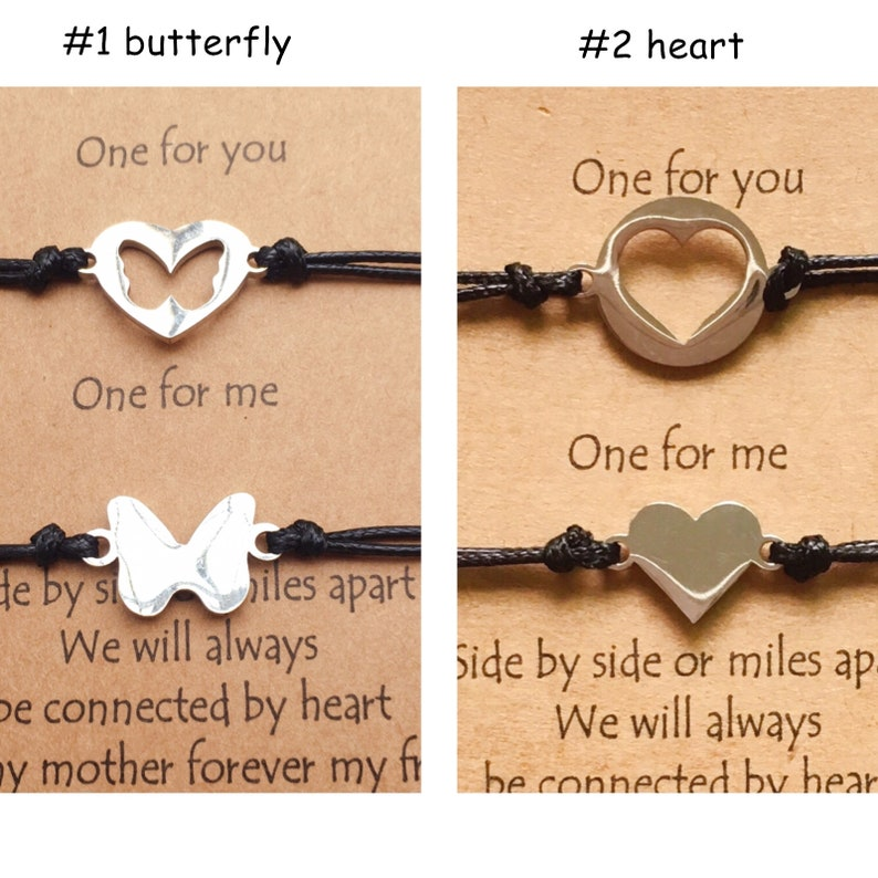 Matching Butterfly Bracelets,Mothers Day gift from Daughter,Adjustable Braided Set of 2,Minimalist Stainless steel Charm Bracelets Wish well
