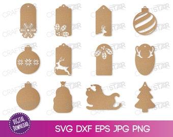Christmas Tags Svg Etsy