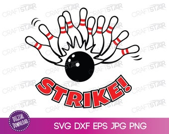 Bowling SVG - Ten Pin Bowling Strike Clipart - Sports Digital Element - Commercial Use