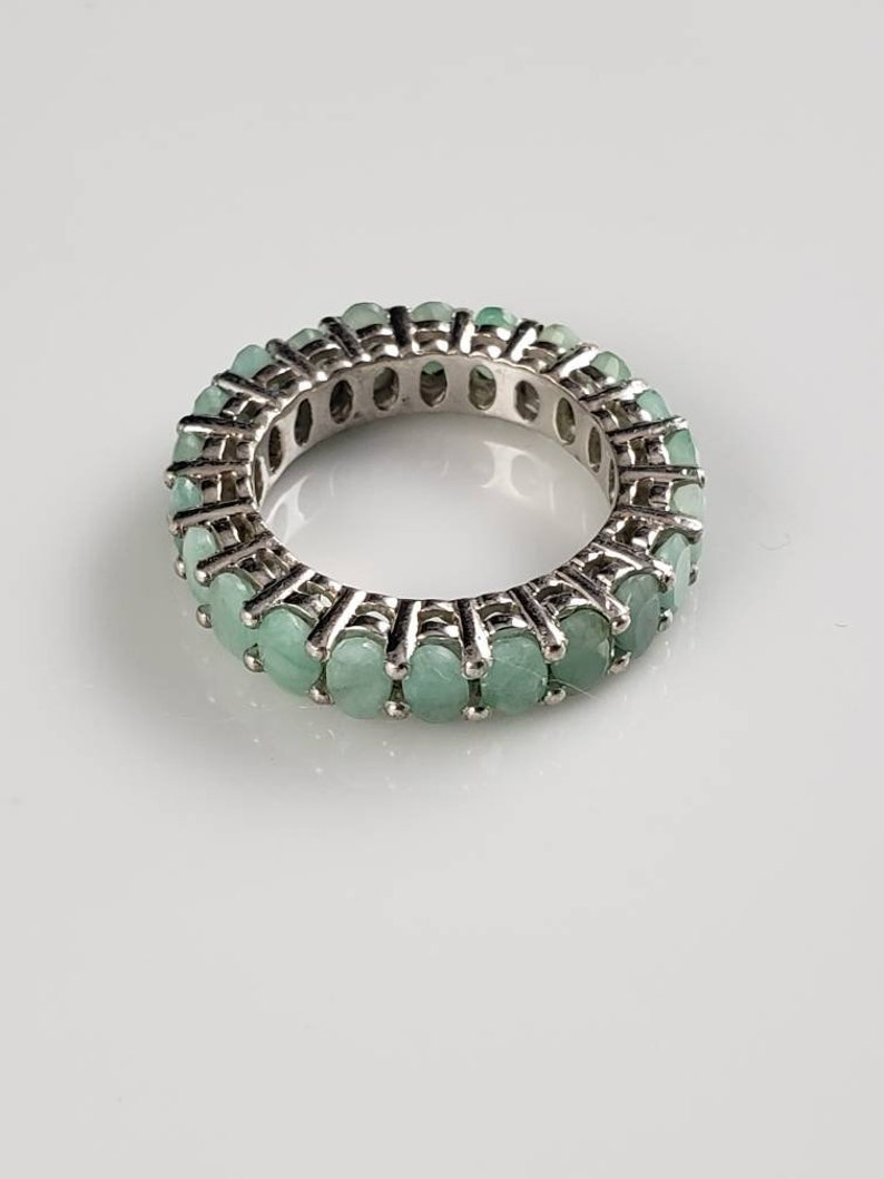 Gorgeous Genuine Emerald Sterling Silver Eternity Band