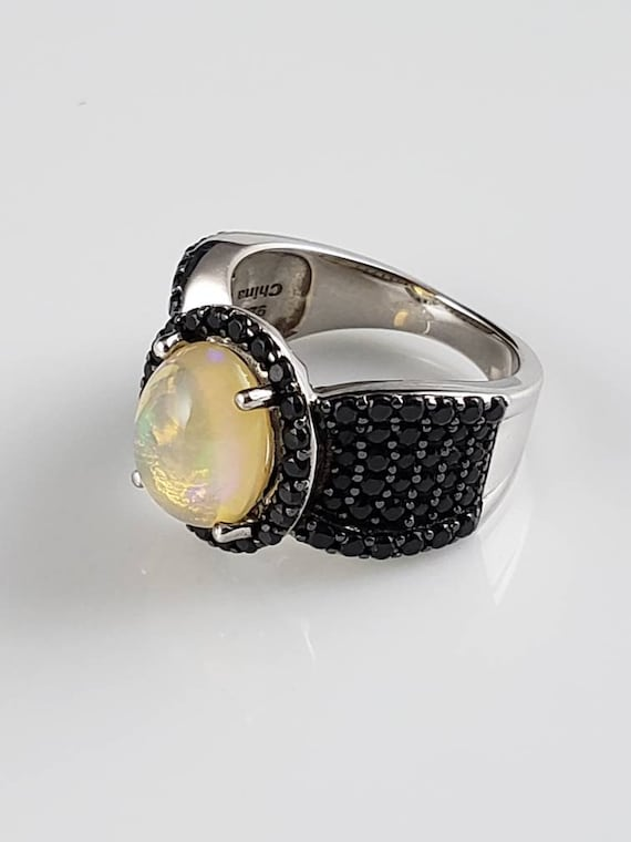 Welo Opal & Black Spinel Sterling Silver Ring