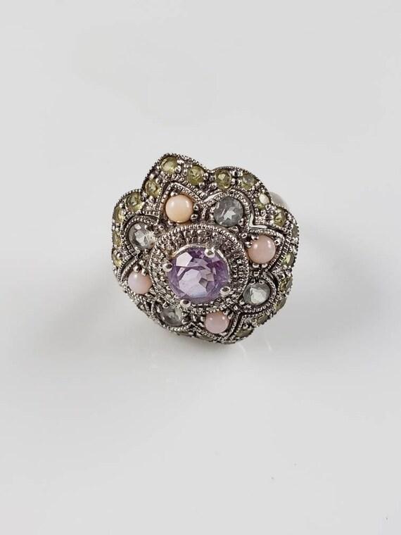 Vintage Amethyst and Peridot Sterling Princess Ring ~