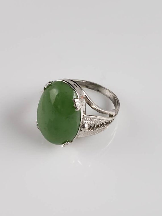 1920s Art Deco Jadeite Sterling Silver Ring