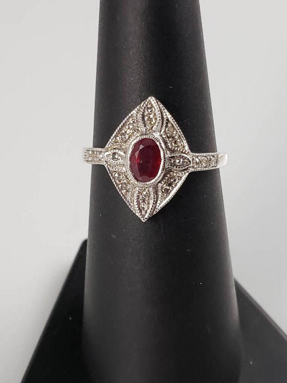 Art Deco Ruby & Diamond Sterling Silver Ring