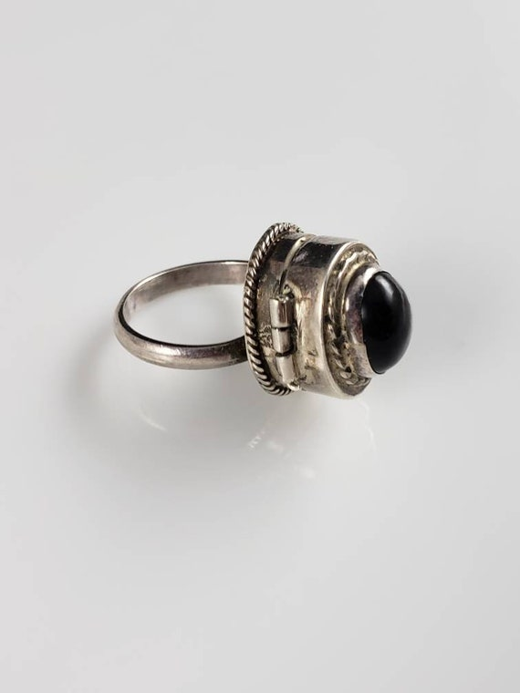 Taxco Onyx Sterling Silver Poison Ring
