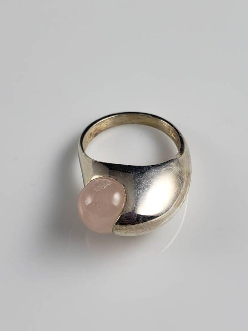 Henrik Ulrichsen Modernist Rose Quartz Sterling Siliver Ring