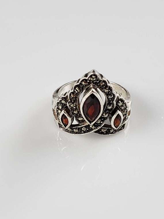 1930s Art Deco Garnet & Marcasite Shield Ring