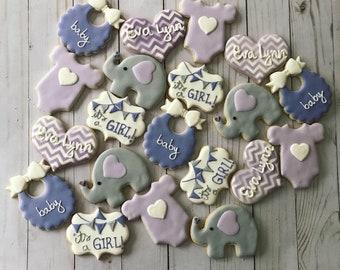 Elephant baby shower set cookies