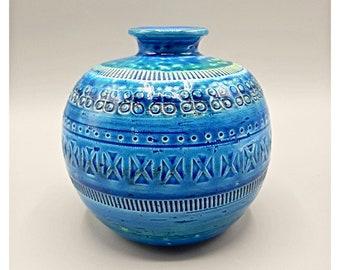 ALDO LONDI FLAVIA Montelupo Bitossi Small round ceramic vase Rimini Blu Italia series ca. 60s