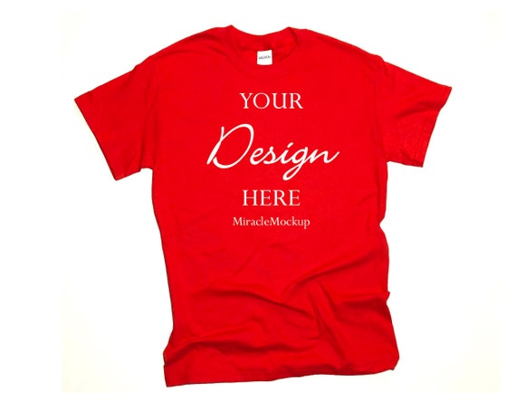 Gildan 2000 Ultra Cotton Red T-Shirt Mockup Rolled Sleeves Flat Lay Tee Shirt Mock up High Resolution 300dpi 4:3 Rectangular Ratio JPG