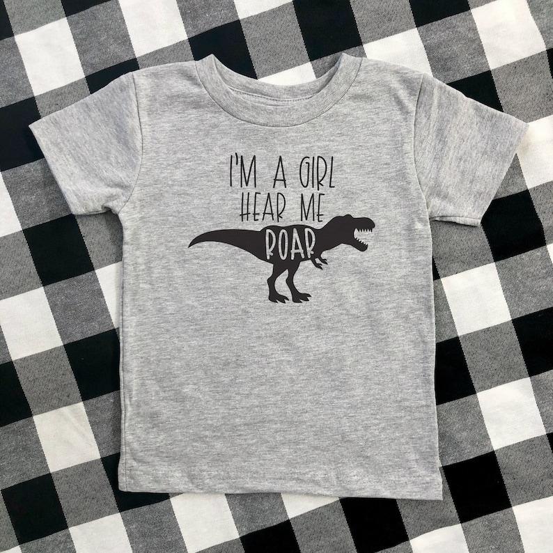 mini feminist independent girl tee feminist toddler future is female t-shirt girl power girl dinosaur shirt i/'m a girl hear me roar
