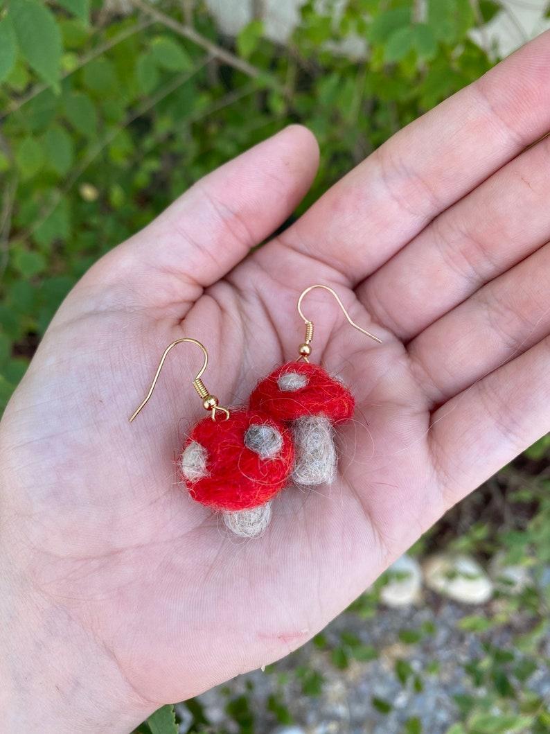 red mushroom needle felt needle felt mushroom earrings Cottage core mushroom earrings