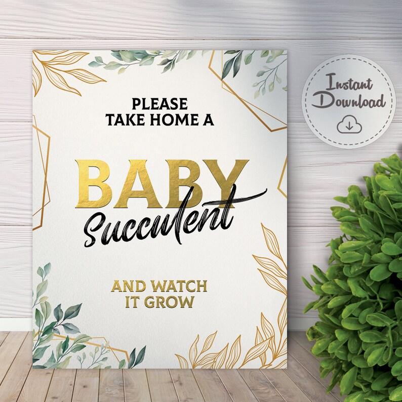 succulent bridal shower succulent wedding decor Succulent Baby Shower Favor Sign Cactus baby shower decor please take one favor download