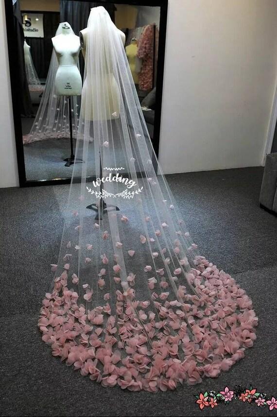 White Chapel Wedding Veil with Pink petal Design-Bridal Veil,White Veil,Floral Veil,Wedding Veil with comb-Wedding veil.Any colour petals