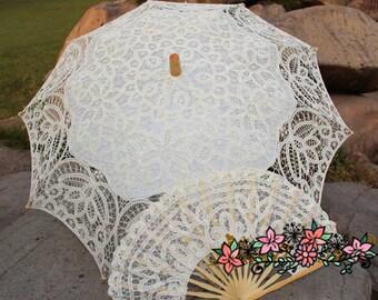 Lace Bridal Parasol & Fan set,Wedding Parasol,Brides lace Umbrella,Wedding umbrella,Lace umbrella,Bridesmaids Parasol,Choice of 6 colours