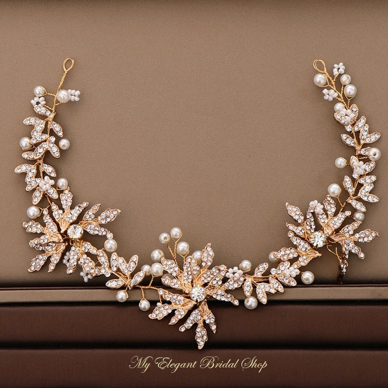 Gold /& Crystal Floral Bridal Hair vine-Crystal Wedding Headpiece-Gold Wedding Headband-Bridesmaids Headdress-Hair Accessories for Brides