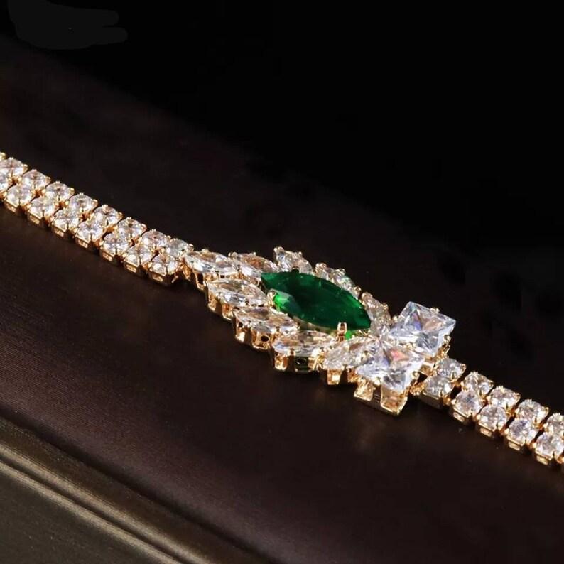 Emerald Crystal Tiara set,Necklace Earrings,Ring Bracelet set-Wedding Accessories-Gold Jewellery set-Green Bridal crown set-Womens Jewelry