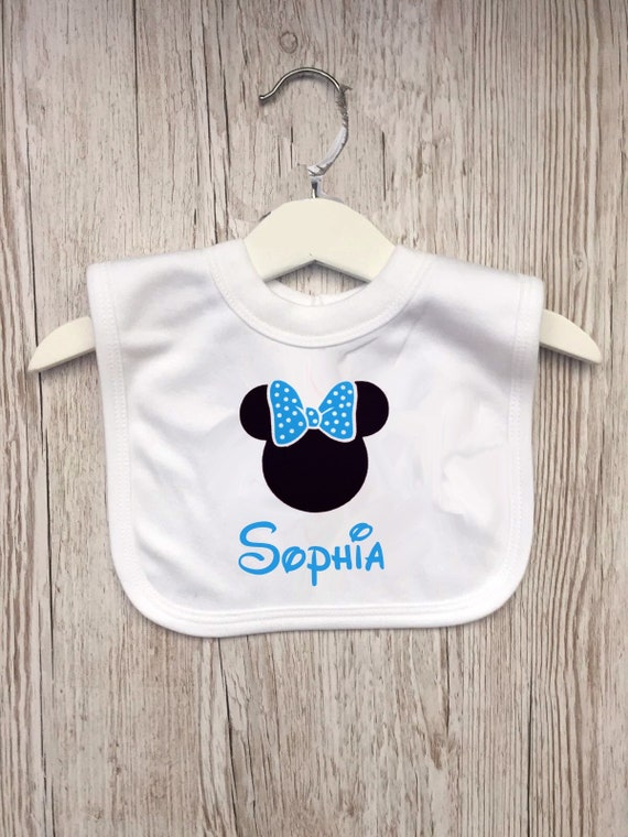 Blue Baby Bib Gift New baby Birthday Gift New Arrival Minnie Mouse Personalised