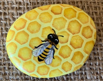 Bee Painted Rock Etsy