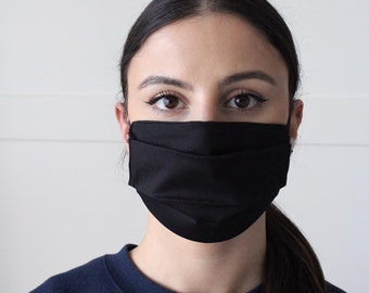 Black Cotton FACE MASK - 100% cotton - Double Layer Cotton, Washable , Reusable, Handmade, Snug Fit Face Mask- Made In The UK