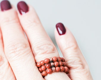 YOKO Full Moon Ring Goldstone / Jewelry / Goldstone / Antique Rose Gold Plated Brass / Stretch