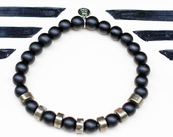 BLACK AGATE /PYRITE / Gemstone Beaded Bracelet / Handmade Jewelry / Natural Gemstone / Yoko Charm / Stretch / Slip-on