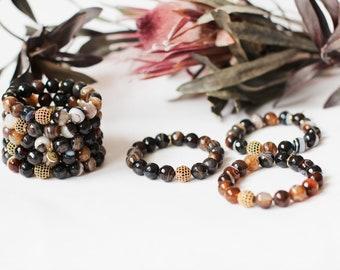 YOKO Radiant Collection in BOTSWANA AGATE / Bracelet / Gemstone Beaded Bracelet  / Yoko Charm / Gold Plated Ball of Fire