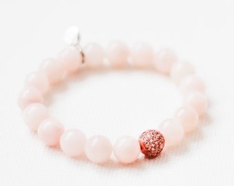 YOKO Blush  Bracelet in Dyed Jade  / Bracelet / Gemstone Beaded Bracelet  / Yoko Charm / Sterling Silver Plated / Ball of Fire