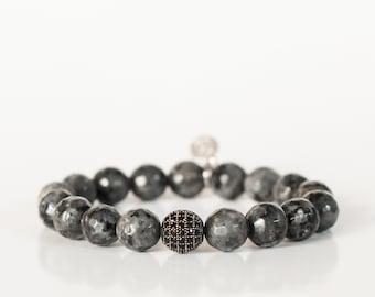 BLACK LABRADORITE/ Gemstone Beaded Stretch Bracelet  / Yoko Charm / Black Rhinestone spacer bead