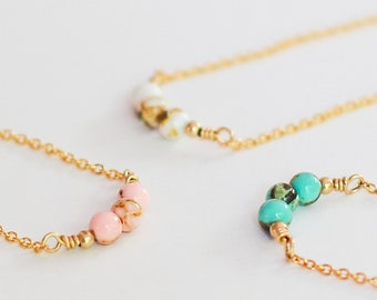 3 Sisters Necklace / Dainty 14k GOLD FILLED /  lobster clasp closure / 17in long / 4mm beads / Pink / White / Blue Magnesite