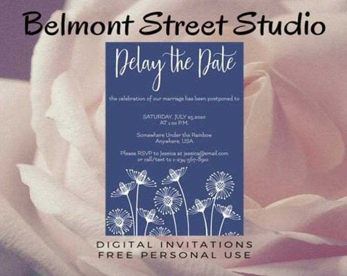 Delay the Date Wedding Template, Dandelion, Save The Dates, Green Save The Date, Save The Dates Printable, Save The Date