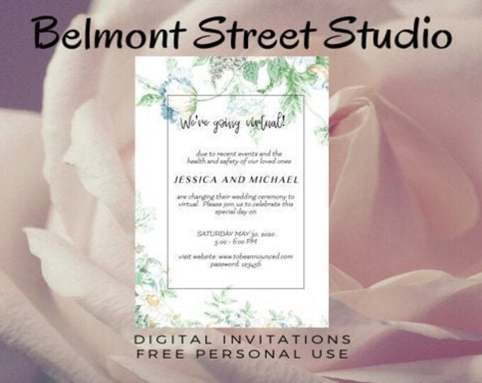 Virtual Wedding Invitation, Social Media, or Print, Colorful Flowers, Save The Dates