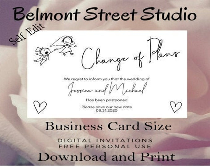 Change the Plans Wedding Template Busines Card Size, Save The Dates, Save The Dates Printable, Save The Date