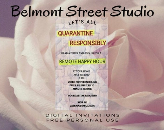 Virtual House Party Happy Hour, Social Media, or Print, Colorful , Save The Dates, Zoom Party