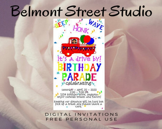 Happy Birthday Parade Invitation for children, Template, Printable or Use for social media
