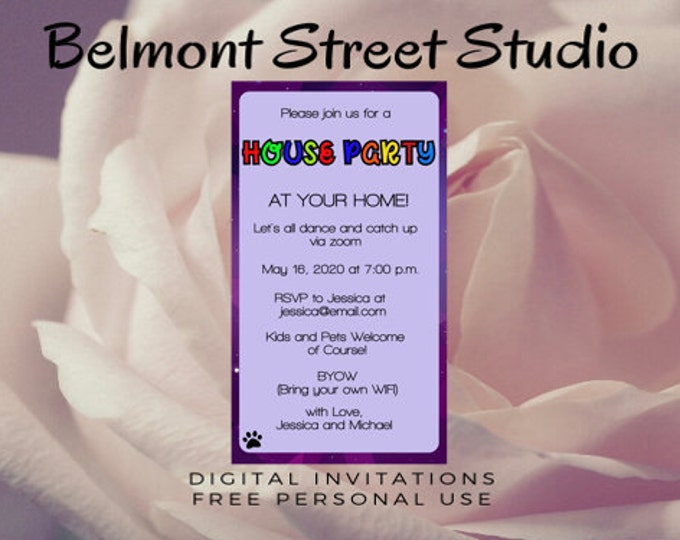 Virtual House Party, Social Media, or Print, Colorful , Save The Dates, Zoom Party