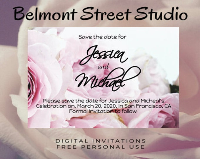 Rose Save The Date Template, Colorful Roses, Save The Dates, Green Save The Date, Save The Dates Printable, Save The Date
