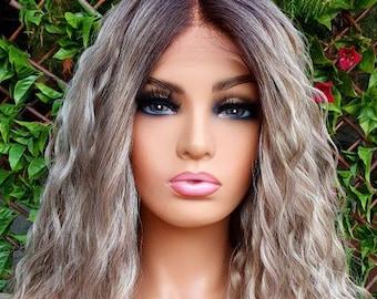 Porsche Silver Grey Sandy Ash Blonde Long Curly Waves Human Hair Blend Wig Perm Waves Wigs