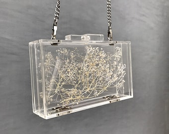 Flower Handbag, Resin Clear Purses, Baby's Breath Acrylic Box, Evening Clutch, Transparent Handle Bag