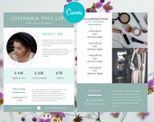 Canva Media Kit for Bloggers, Influencer Media Kit,  Press Kit, Media Kit 2 Page Template, Rate Sheet